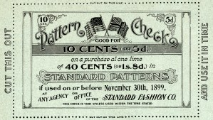 free vintage image, free vintage clipart, antique pattern check, victorian coupon, standard fashion co check, old fashioned coupon, standard patterns coupon, free printable, graphic design resource, public domain free download