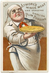 free vintage image, victorian trade card, antique advertising card, atmore's mince meat and english plum pudding, free printable, digital image for graphic design, french chef vintage image, free vintage ephemera, atmore ad card