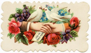 victorian calling card, with kindest regards, free vintage image for crafts, digital download for graphic design, vintage clipart for scrapbooking, doves flowers hands card, old fashioned card