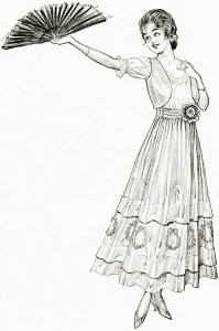 free vintage image, fashion 1915, free printable, free vintage clipart, public domain digital image, vintage fashion sketch, vintage fashion illustration, victorian ladies fashion, vintage summer dress, digital image for graphic design, high resolution graphics, lady with sombrero holding fan