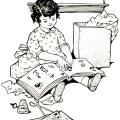 free vintage image, free vintage clipart, vintage scrapbooking image, free printable, little girl scrapbooking, public domain digital image, image for graphic design, little girl with book, vintage illustration children, girl 1914