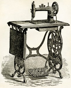 treadle sewing machine vintage illustration, antique sewing machine, free victorian clipart, old sewing machine