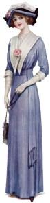 victorian lady, fashion 1912, vintage blue dress, antique fashion clipart, vintage fashion
