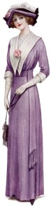 victorian lady, fashion 1912, vintage purple dress, antique fashion clipart, vintage fashion illustration