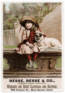 besse, besse & co, victorian trade card, free vintage image, free vintage clipart, vintage girl image, victorian child, dog, pug, vintage advertising card
