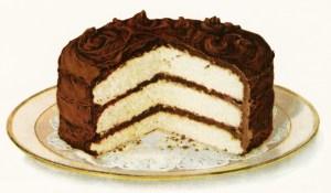 chocolate iced layer cake, free vintage clipart cake, old fashioned layer cake, digital cake illustration, free printable cake image, white cake chocolate frosting, cake on plate, royalty free food image