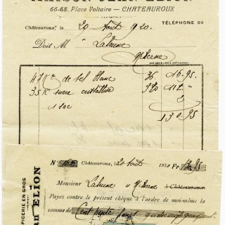Vintage French Invoice and Cheque
