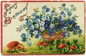 free vintage clipart flowers, blue flowers, red mushrooms, free vintage birthday postcard, old postcard digital, joyous birthday postcard, free vintage image
