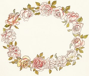 free vintage clipart flowers, circle of flowers, kate greenaway floral wreath, a day in a child's life, pink flowers illustration, public domain image flowers, pink floral wreath illustration