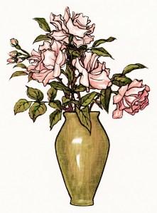 free vintage clipart flowers, vase of flowers, free vintage image, pink flowers, kate greenaway illustration, pink flowers, old design shop