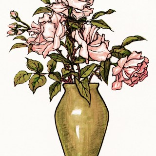 Vase of Pink Flowers ~ Free Vintage Clipart