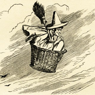 Witch Flying in Basket ~ Free Vintage Image
