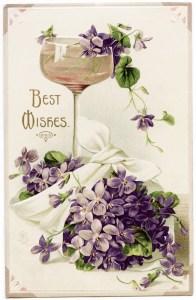 free public domain postcard, vintage violets image, best wishes postcard, wine glass illustration, purple flowers