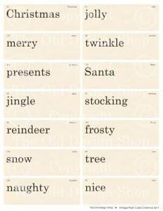 vintage flash card, retro flashcard, Christmas words, old christmas flashcards
