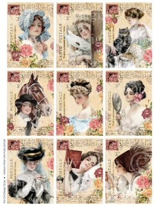 harrison fisher girls, altered vintage postcard, art journal cards, victorian lady atc aceo, digital collage sheet