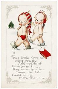 free vintage image, rose o'neill postcard, little kewpies christmas, vintage postcard, cute christmas graphic, antique christmas image, vintage clipart christmas