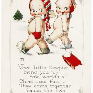 Two Little Kewpies Christmas Postcard