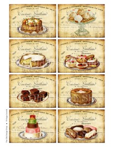 vintage sweets, digital collage sheet, vintage cake image, atc background, art journal cards