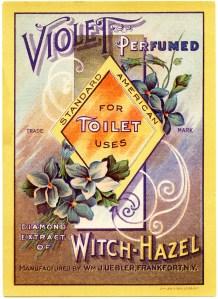 vintage label graphic, violet witch hazel, free vintage perfume label, antique toilet water