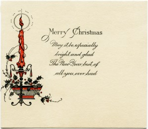 antique christmas card, vintage candle graphic, burning candle clipart, free vintage christmas image, old fashioned christmas illustration