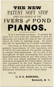 ivers pond piano co, vintage trade card, antique advertising card, free vintage image, vintage piano ad