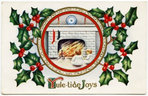 vintage whitney postcard, antique christmas image, holly berries clipart, yule tide joys old postcard, free vintage christmas graphic, old fashioned christmas illustration