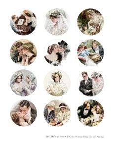 harrison fisher, digital collage sheet, love and marriage, vintage bride, wedding table confetti