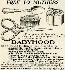 vintage magazine advertisement, antique babyhood ad, clipart spoon, clipart bonnet brush, clipart scissors, clipart music box, antique advertising