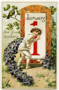 free vintage postcard, tucks new year postcard, antique postcard graphic, child in white outfit, January 1 illustration