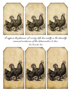 prim rooster and hen, label and tags, lilac & lavender free tags, rooster tag