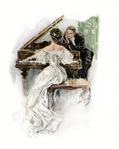 harrison fisher, I hear her sing, lady at piano, victorian couple