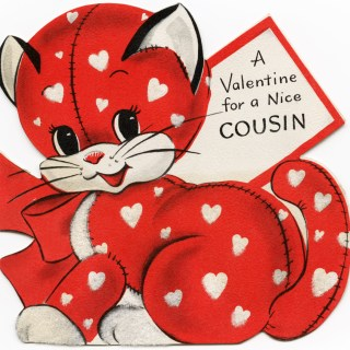 Red Kitten Valentine Card ~ Free Vintage Image