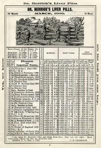 antique almanac, free digital almanac page, old book page, March 1906, herricks almanac