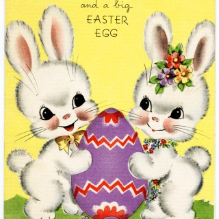 Free Vintage Image ~ Bunnies Easter Card