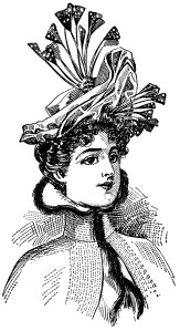 vintage hat clipart, antique millinery, victorian hat styles, edwardian fashion, free digital graphics, elegant hat image