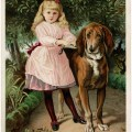victorian trade card, girl walking dog image, antique advertising card, Dr Jayne's expectorant, shabby old paper
