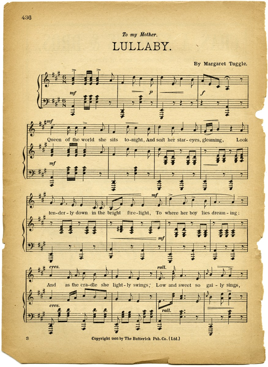 free vintage images lullaby sheet music