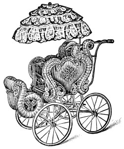 vintage baby carriage, old fashioned pram, baby clip art, antique baby buggy, printable baby image