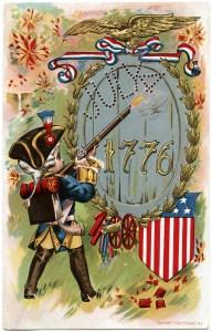 sander July 4 postcard, vintage patriotic postcard, free vintage image, independence day postcard, antique July 4 graphics