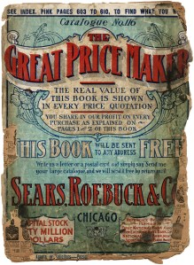 1907 Sears Roebuck catalogue, antique catalog, tattered old book cover, aged paper, grungy book page