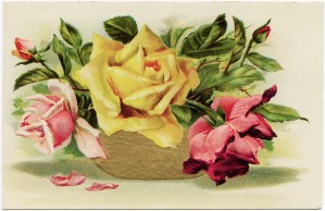 victorian roses, vintage birthday postcard, antique floral graphics, pink yellow roses clipart, old fashioned birthday card