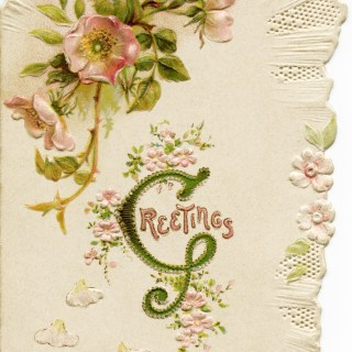 Free Vintage Image ~ Pink Floral Victorian Christmas Card