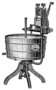 vintage washing machine clipart, antique clothes washer advertisement, old magazine digital advertising, black and white clip art, 1900 washing machine image