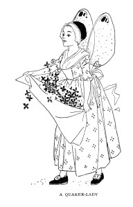 vintage storybook character, printable clip art fairy, a quaker lady, free black and white clipart, woman with apron of flowers