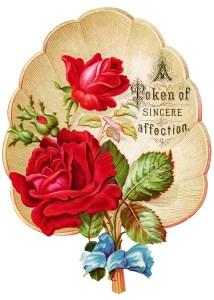 victorian rose clipart, vintage clip art fan, red rose graphics, free digital floral image, antique greeting card