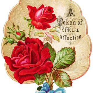 Free Vintage Image ~ Red Rose Fan Victorian Clip Art
