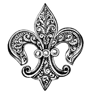 Fleur de Lis Pin with Pearls Clip Art