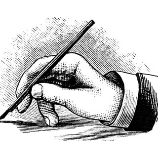 Hand Holding and Writing with Pen Clip Art