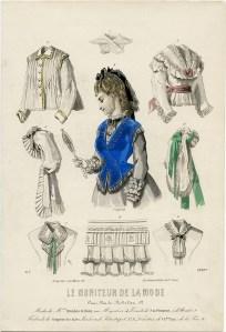le moniteur de la mode, Victorian fashion plate, vintage clothing image, 1850 French ladies fashion, Edwardian clothes clipart