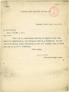 old typewritten letter, free vintage ephemera, aged paper graphics, norfolk and western railway co, shabby digital page